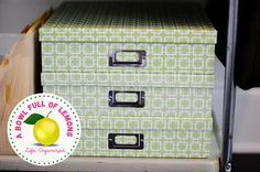 Photo/Scrapbook boxes like these for decorative office storage for extra printer paper, etc.