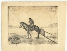 Marco ZIM Russia Russian Artist Etching 1930 WPA Era Indian Roming Nomad Travois #MarcoZim