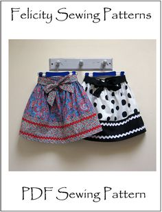 Kitty Skirt sewing pattern for girls 2 to 12 by FelicityPatterns