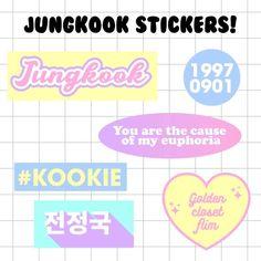 Pop Stickers, Tumblr Stickers, Printable Stickers, Kpop Diy, Journal Aesthetic, Ideias Diy, Bts Merch, Bts Chibi, Aesthetic Stickers