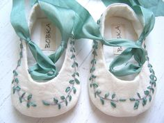 Organic  Baby Ballet Shoes, Jane Austen , Baby Girl Shoes, Toddler Flats, Bobka Shoes by BobkaBaby. $80.00, via Etsy.