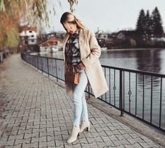 Beige overcoat and booties #zara #boots #over knee #overcoat