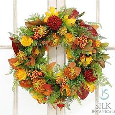 Fall-Mix-Ranunculus-Dahlia-20-Wreath-Orange-Green-Rust-Silk-JSB