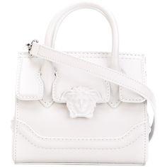 Versace mini Palazzo Empire crossbody bag (4 650 PLN) ❤ liked on Polyvore featuring bags, handbags, shoulder bags, white, white tote bag, mini crossbody purse, handbags totes, white leather handbags and crossbody tote
