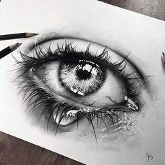 Rose Drawing Tattoo, 3d Art Drawing, Realistic Pencil Drawings, Cool Art Drawings, Pencil Art Drawings, Art Drawings Sketches, Drawing Tears, Tears Art, Mädchen Tattoo