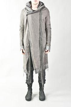 Boris Bidjan Saberi - cold dyed double layered hooded coat w/ removable straps