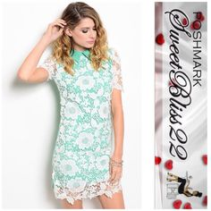 "🍭Lace Overlay Dress🍭 Picture perfect dress.Beautiful crochet fabric,stunning collared detail! Add this to your wardrobe! Comes in Small  and Large ⭐️50% Cotton,47% Polyester,3% Spandex ⭐️️Small measures 34"" in the bust ⭐️️️️️Medium measures 36"" in the bust Dresses"