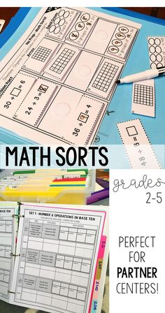 Math Centers for upper elementary students, These no prep math sorts can also be made into interactive math folders. Review: I love these sorts! Not only is it little preparation, but they have 2 different sorts, one being more challenging than the other. I love the facts that it covers ALL standards and I can use them as review center or included in my daily instruction as seatwork! I LOVE LOVE these sorts! No doubt, one of my best purchases this year!