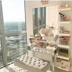 How I need my room to look ! Makeup Vanities, Bedroom Makeup Vanity, Makeup Vanity Decor, Mirrored Vanity Desk, Glass Vanity Table, Makeup Vanity Tables, Makeup Vanity Organization, Beauty Vanity, Makeup Room Decor