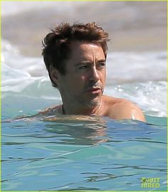 robert downey jr swims shirtless plays with exton in st barts 22