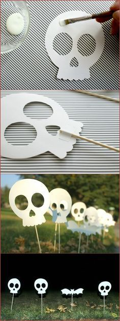 glow in the dark decor: FREE PRINTABLE HALLOWEEN SIDEWALK SKULLS -We Like Craft