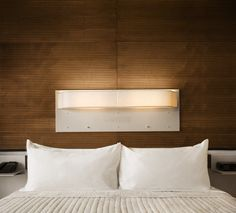 10 Easy Pieces: Hip Hotel Shop Finds : Remodelista- Luv the light! Backboards For Beds, King Size Pillows, Coverlet Bedding, Interior Decorating, Interior Design, Comfy Bed, Guest Bedrooms, Boy Bedrooms, Beautiful Bedrooms