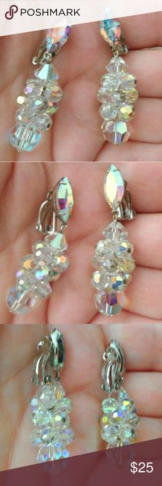 Vtg SIGNED LOUIS SEGAL Borealis Crystal Earrings EXCELLENT VINTAGE CONDITION Vintage Jewelry Earrings