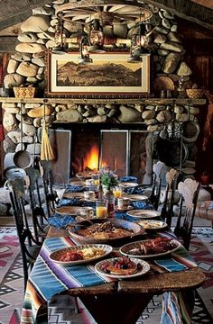 Ralph Lauren : Architectural Digest Someday, I'm going to have a dining area with a long solid oak tale enough to fit my entire family! It will be a feast because we rarely all get together in one decorating designs River Rock Fireplaces, Stone Fireplaces, Colorado Ranch, Colorado House, Telluride Colorado, Enchanted Home, Ralph Lauren Style, Ralph Lauren House, Western Homes