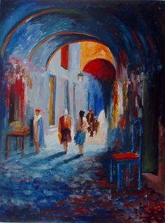 la-medina-chante (Peinture) par nejib zneidi la medina les vieilles rues de tunis