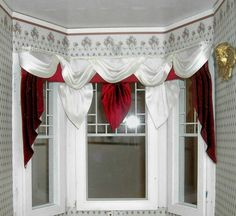 Dollhouse Miniature 1:12 scale Wide Bay Window Red and White Curtains Valance Drapes. $45,00, via Etsy.