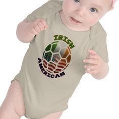 Irish American Soccer Baby T-Shirt Creeper. To see a wide range of #genealogy and ancestry products, featuring many nations, please take a look in my store: www.zazzle.com/celticana*/ #IrishAmerican