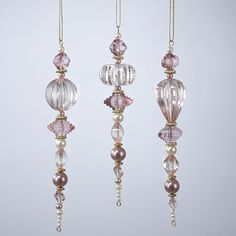 3 Assorted - Pink Beaded Icicle Ornaments by Kurt Adler