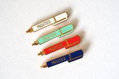Mightier Pen Enamel Pin Badge Pen is mightier than the sword