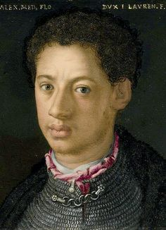 Agnolo Bronzino ~ Alessandro de' Medici ~ Duke of Florence ~ 1510-37 ~ called 'il Moro' the Moor. Illegitimate son of Giulio de Medici and a servant woman of African descent  identified in documents as Simonetta da Collevecchio. He was murdered by a cousin, Lorenzaccio de' Medici. Alessandro wielded great power as the first duke of Florence and is one of two Medici princes whose remains are buried in the famous tomb by Michaelangelo.