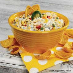 Gooseberry Patch Recipes: Robert's Corn Dip - one of our absolute, all time favorites! You'll love this easy to make, spicy dip that feeds a crowd. Perfect for the big game!