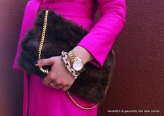 Easy tutorial for a faux fur purse - almost no sewing!  ~Renee