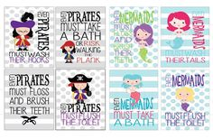 GroopDealz | Mix & Match Adorable Mermaid and Pirate Bathroom Prints