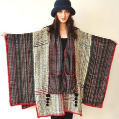 Gray and Red Handwoven Women's Poncho