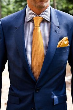 Great Summer Look: Navy Suit paired with gingham check shirt and a matching combo of golden-yellow tie and matching oversized pocket square