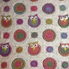 Owl Obsession Blanket using Bernat Mosaic. Pattern by Marken the Hat & I on Ravelry
