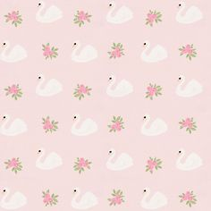 Pink Swans Fabric by Carousel Designs.  This animal print antique white fabric is perfect for boys or girls. It is a medium weight fabric made of Cotton material.