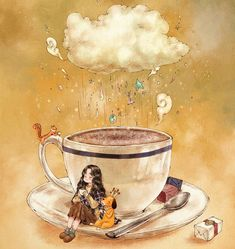 A cup that soothes me in coldness. A cup that instills sweetness into my exhausted brain. A cup of deep and sweet hot cocoa. Drinking this… Coffee Illustration, Illustration Girl, Coffee Love, Coffee Art, Coffee Shop, Bisous Gif, Tee Kunst, Forest Girl, Tea Art