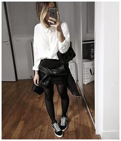 Pin for Later: 25 Outfits That Will Go Perfectly With Your Black Sneakers With a White Blouse, a Black Mini Skirt, and Pantyhose - Skirt And Sneakers, Sneakers Looks, Black Trainers Outfit, Black Leather Trainers, Looks Com Short, Parisian Chic Style, Style Parisienne, Basket Noir, Street Style