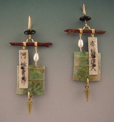 jewelry image of Handmade paper earrings with pearls,wood,and beads