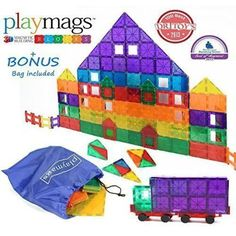 Award Winning Playmags Clear Colors Magnetic Tiles Deluxe Building Set 100 Piece Set with Car + Includes Free Bonus Bag - Great Gift for Kids Best Christmas Toys, Old Christmas, Christmas Gifts For Kids, Christmas 2016, Toys For Us, Kids Toys, Baby Toys, Top Gifts For Boys, 4 Year Old Boy