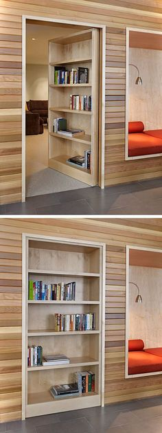 18 Trendy ideas secret door hidden rooms bookshelves - Image 16 of 21 Small Doors, Bookcase Door, Bookshelves Diy, House Design, Small House Decorating, Bookcase Door Diy, Door Design, Secret Rooms, Trendy Door