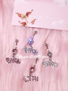 Ear Jewelry, Body Jewelry, Jewelry Accessories, Belly Button Piercing, Belly Button Rings, Dangle Belly Rings, Letter Charms, Piercings, Dangles