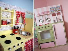 50 Fun Play Kitchens Your Kids Would Love:  Great color combos!