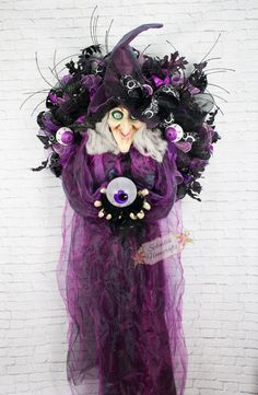 XL Light-up with Sound Witch Wreath, Spooky Witch Wreath, Witch Wreath, Eyeball Wreath, Witch Mesh Wreath, Witch Prop, Haunted House Decor by Splendid Homecrafts on Etsy. Please check out a video on the Splendid Homecrafts Facebook page to see the light/sound effects.