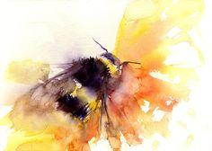 Jen Buckley Art - LIMITED EDITON PRINT of my original BUMBLE BEE