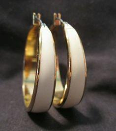 """#Vintage Hoop #Earrings Cream enamel Gold Tone Pierced  #jewelry 1¼"""" #fashion #vintage #Hoop"""
