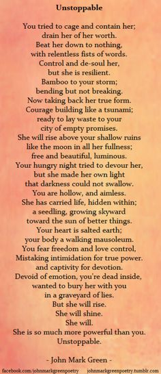 This is beautiful!! I hope this poem encourages you to take your power back and break free. You deserve true love and respect. Don't settle for anything less.                                                                                                                                                     More