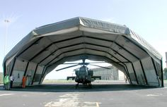 Relocatable Military Shelters, Buildings and Aircraft Hangars  Eight hours to assemble (not including helicopter)  Upto 25m span  http://www.rubbusa.com/military-shelters/rapid-erect-helicopter-hangars.php