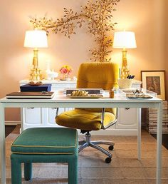 Office! Love this. Use dresser for behind desk...and get 2 cute accent lamps! Great idea!