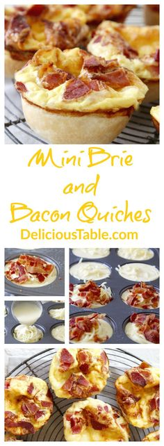 Make Mini Brie and Bacon Quiches in muffin tins or small pie dishes. Serve for brunch or breakfast, the bacon and brie combination is scrumptious!