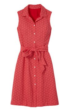 The classic shirtdress gets romantic with allover eyelet in a warm coral shade. Editor's Tip: Great for minimizing a big bust. $120; landsend.com