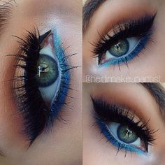 Eye make up Blue Eyeliner Looks, Glam Makeup, Skin Makeup, Beauty Makeup, Makeup Tips, Makeup Ideas, Glitter Carnaval, Shimmer Eyeshadow, Colorful Makeup