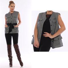 Vintage Grey WAISTCOAT / Grey Jersey Vest/ Vest by VintageDeMar