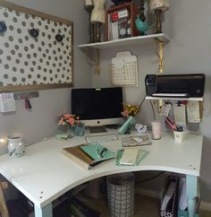 My craft room office desk space diy design on a dime decor target find yard sale upcycled white mint gold gray office space