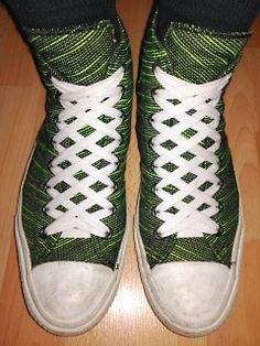 Green & black Converse All-Star IIs with white trim and white Waffle Lacing (from Sascha O)